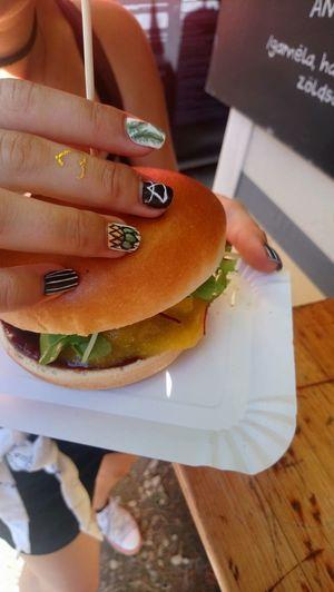 Mango burger Burger #urbanana: The Urban Playground Human Hand Low Section Women Close-up Food And Drink Hand Nail Art Nail Polish