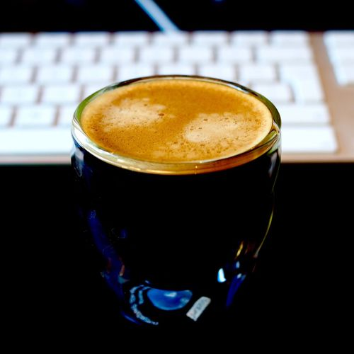 Break time for coffee + photography Apple Break Breaktime Close-up Coffee - Drink Coffee Break Coffee Cup Cup Depth Of Field Drink Drinking Glass Espresso Food And Drink Freshness Froth Art Frothy Drink Indoors  Keyboard No People Refreshment Table Work Working
