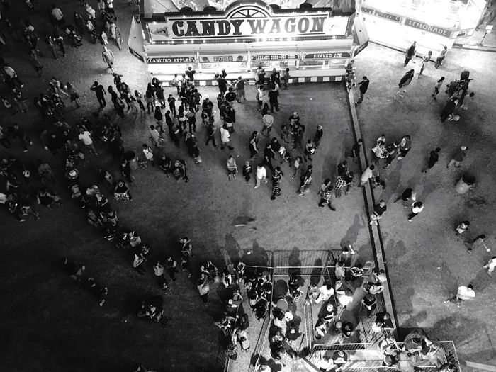 High angle view of crowd in front of town