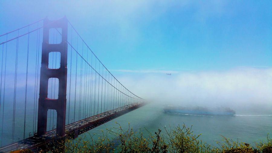 View of golden gate bridge in fog