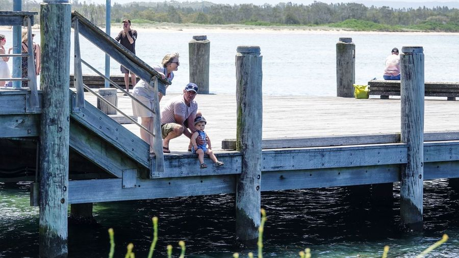 Men on boat in water