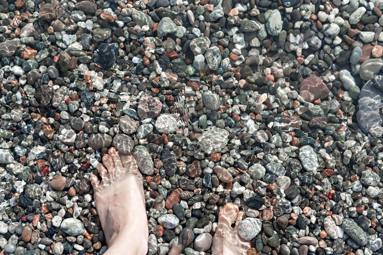Female feet in sea water on  pebble shore top view in summer, many pebbles, copy space, relaxation