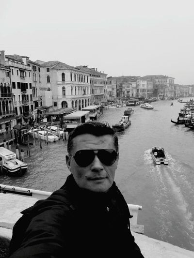 Building Exterior Architecture Built Structure City Water Transportation Leisure Activity Portrait Sunglasses Clear Sky Looking At Camera Young Adult Person Sky Day City Life Vacations Waterfront Venice, Italy Veneza Italy🇮🇹