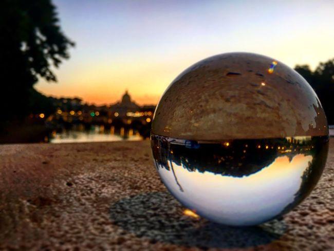 Magic Sphere in Rome ... Sunset Crystal Ball Sphere City Romebynight Roma Rome San Pietro Journey Stpeter