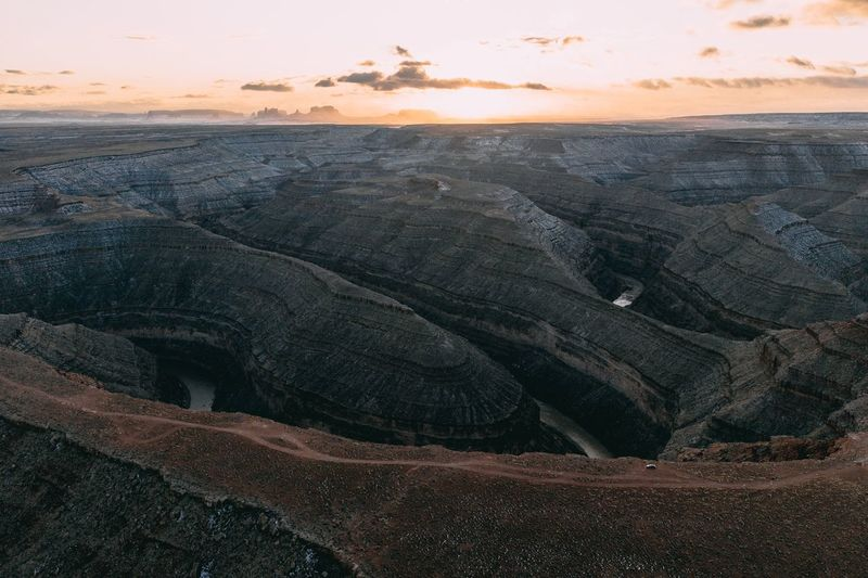 Aerial view of landscape during sunset