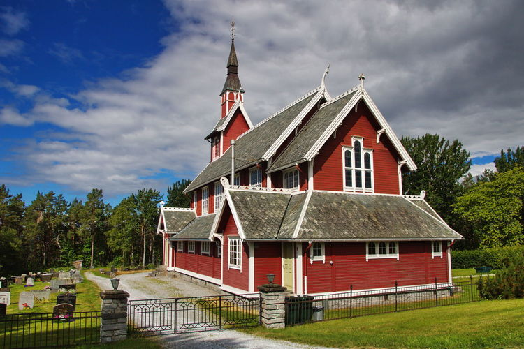 Veøy Church near Molde, Norway Architecture Building Exterior Built Structure Building Cloud - Sky Sky Plant Tree Grass Nature Place Of Worship Landscape Outdoors Religion Rural Scene Roof Spire  Church Nature Photography Landscape_photography Norway Scandinavia Molde