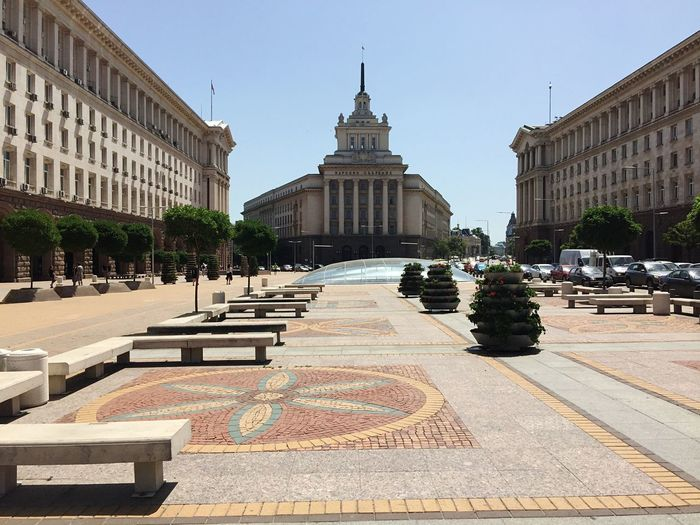 Bulgaria National Assembly Building At Town Square Against Sky In City