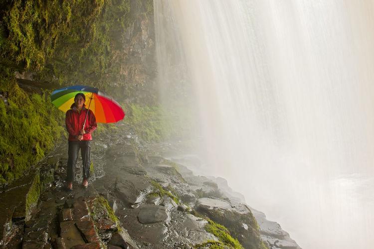 Full length of man standing in water