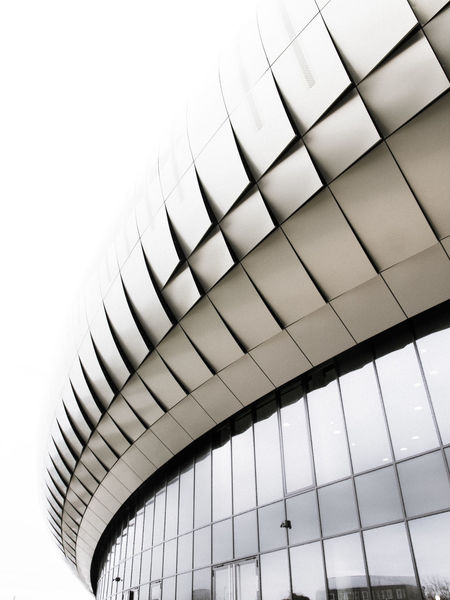 La carapace Geometric Architecture Architecture Black And White Blackandwhite Photography Building Exterior Built Structure Contemporary Architecture Contrast Day Geometric Shape Indoors  Low Angle View Modern No People Sky The Graphic City