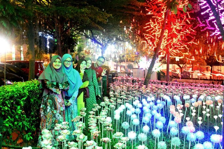 iCity Shah Alam. Multi Colored Night Outdoors Real People Tree