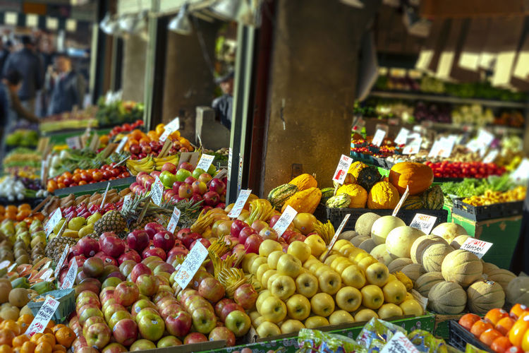 High angle view of various fruits for sale at market stall