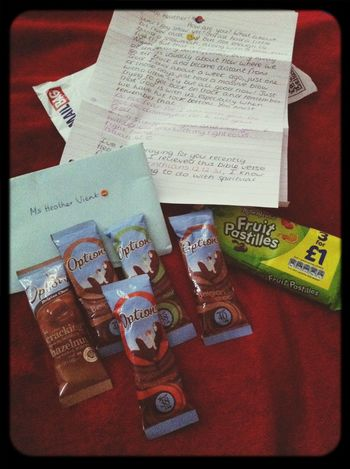 This is thee most BEAUTIFULIEST parcel being away from home! I'm so blessed to have u in my life! God is so good! Loved my letter and hot chocs :) and wee cheeky fruit pastilles! THANKS girl! Loved