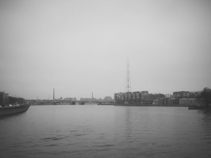 Withgalaxy снятонаgalaxy Санкт-Петербург Saint Petersburg Bw Bnw Blackandwhite Black And White Black & White Outdoors Autumn City Cityscape Urban Skyline Water Fog Smog Social Issues Copy Space Sky Building Exterior Riverbank River
