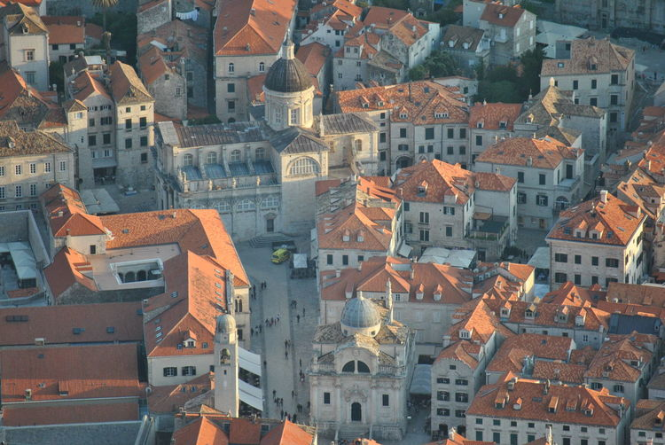 High angle view of houses in town dubrovnik