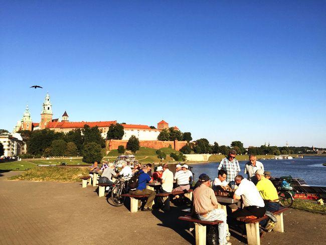 Playing Chess next to Vistula and Wawel  Castle Krakow Krakow,Poland