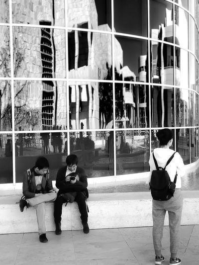 Still life.... Lgarciaphoto IPhone 7 Plus Shot On IPhone Iphoneonly Iphonephotography IPhoneography IPhone IPhone Photography Monochrome Black And White The Getty Center Museum Building Exterior City Architecture Built Structure Men Full Length Lifestyles Real People Outdoors Day Women Adult People