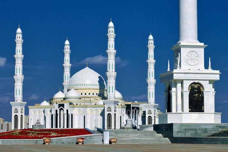 Hazrat Sultan Architecture City Mosque Building Travel Tourism Outdoors Religion Kazakhstan Astana No People Place Of Worship Travel Destinations KZ398_ASTANA_AK KZ398_KAZAKHSTAN_AK