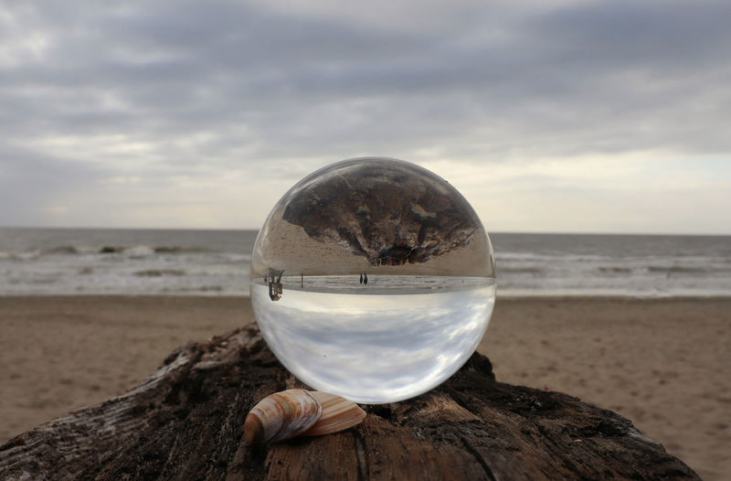 Water Sea Beach Sand Crystal Ball Women Reflection Beauty Sky Close-up