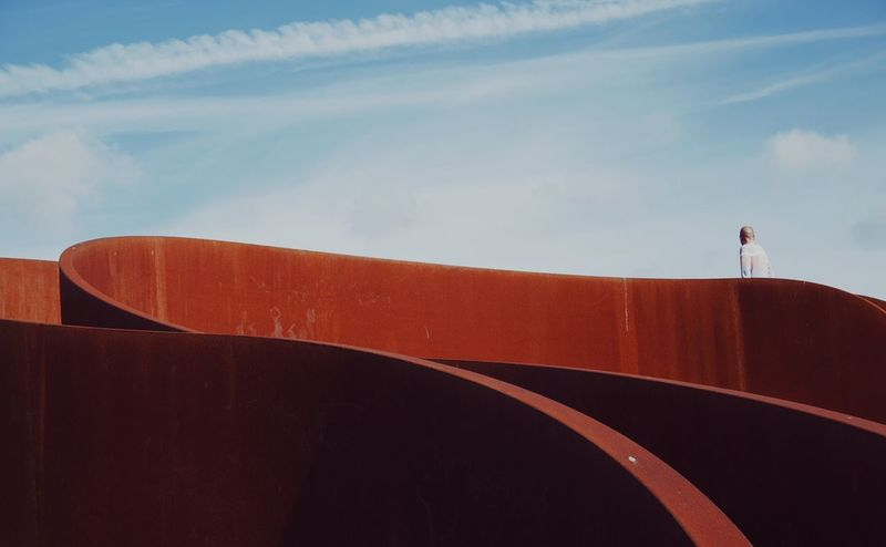 .. Abstract Photography Steel Structure  Shapes And Forms Urban Geometry Urban Landscape Lines And Shapes Architecture One Person Day Real People Leisure Activity Sky Rear View Low Angle View Outdoors Lifestyles Adventure Standing People Stories From The City Go Higher