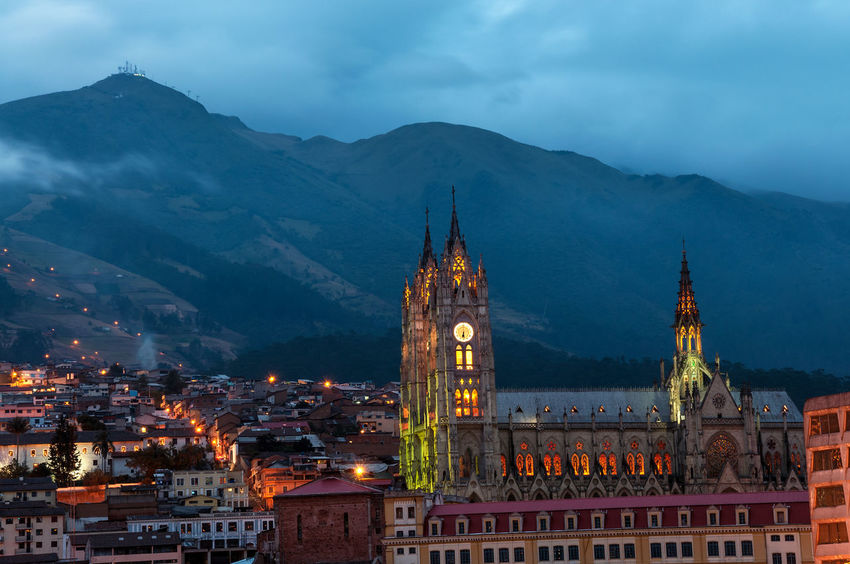 Night time view of the basilica and old town in Quito, Ecuador Architecture Attraction Basilica Building Cathedral Catholic Christianity Church City Ecuador Historic History Interior Landmark Monument Neogothic Quito Religion Religious  Sculpture Statue Stone Tourism Tower Travel