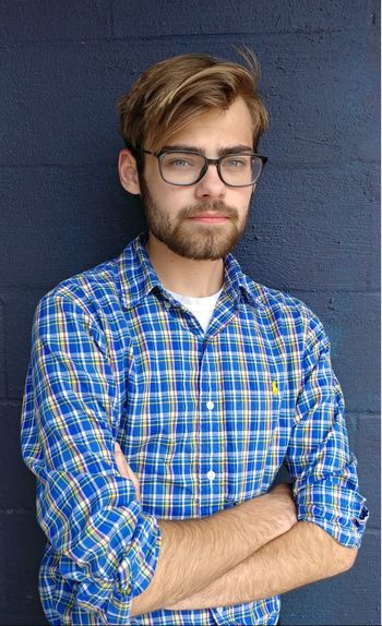 Only Men Eyeglasses  Portrait One Man Only Beard Adult Adults Only Nerd Looking At Camera Retro Styled Men People Indoors  Blue One Person Studio Shot Males  Young Adult The Week On EyeEm Lexington KY Fashion Stories This Is Masculinity Visual Creativity This Is Natural Beauty Redefining Menswear My Best Photo