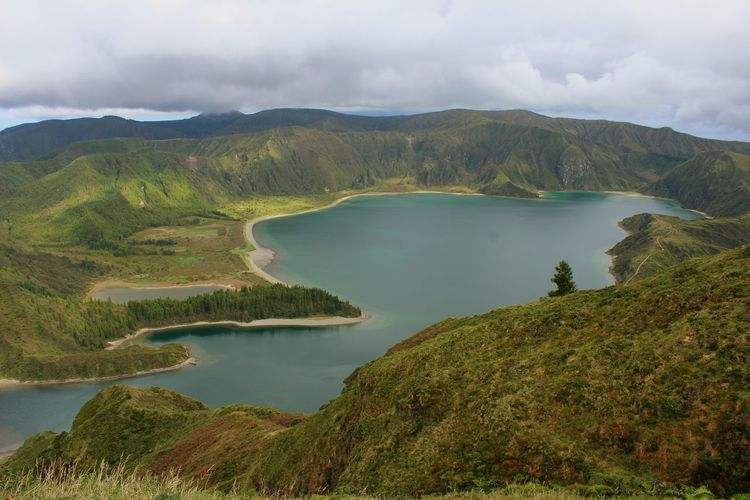 Lagoa Do Fogo Lagoon Lake Water Mountain Outdoors Landscape Beauty In Nature Azores Azores, S. Miguel Travel Destinations Canon1300d 18-55mm Lost In The Landscape Connected By Travel The Week On EyeEm Rural Scene Tranquil Scene Green Mountains Amazing View Perspectives On Nature