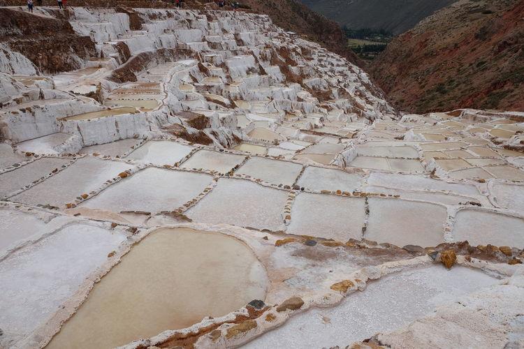 High angle view of salt mines