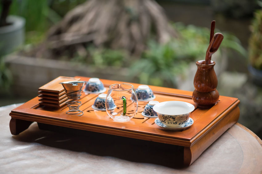tea Table Focus On Foreground No People Food And Drink Wood - Material Food Day Tray Container Still Life Plate Outdoors Close-up Kitchen Utensil Absence Place Setting Brown Selective Focus Household Equipment Setting Coffee Table