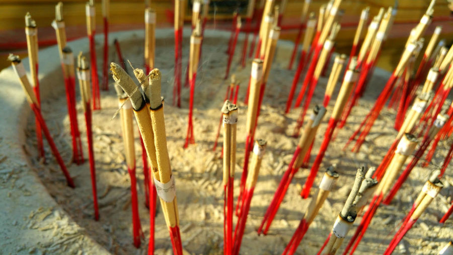 Incense Spirituality Red Religion Belief Place Of Worship Ash Close-up Building Scented Built Structure No People Architecture Focus On Foreground Burning Selective Focus Stick - Plant Part Religious Equipment Festival