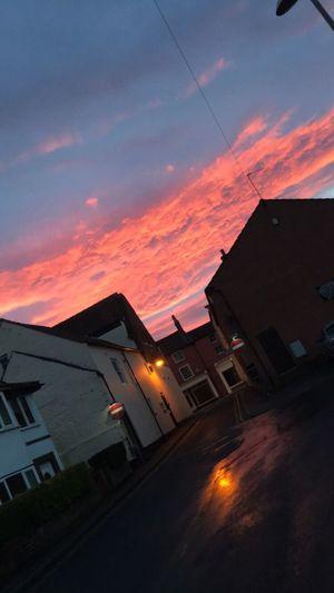 Sky Sunset Cloud - Sky Night Illuminated Town Evening Evening Sky Evening Light Beauty In Nature
