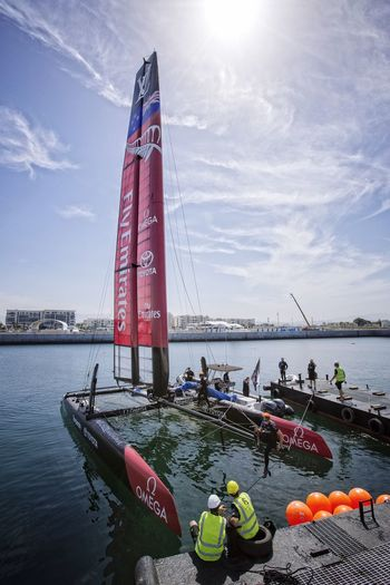 America's Cup World Series Oman Emirates Team New Zealand Yacht Race Launched In The Water