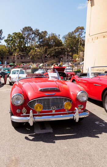 Laguna Beach, CA, USA - October 2, 2016: Red 1961 Austin Healey 3000 owned by Andy Nelson and displayed at the Rotary Club of Laguna Beach 2016 Classic Car Show. Editorial use. 1961 Austin Healey Austin Healey 3000 Automobile Car Car Show Classic Car Classic Car Show Journey Laguna Beach Old Car Sports Car Travel Vintage Cars