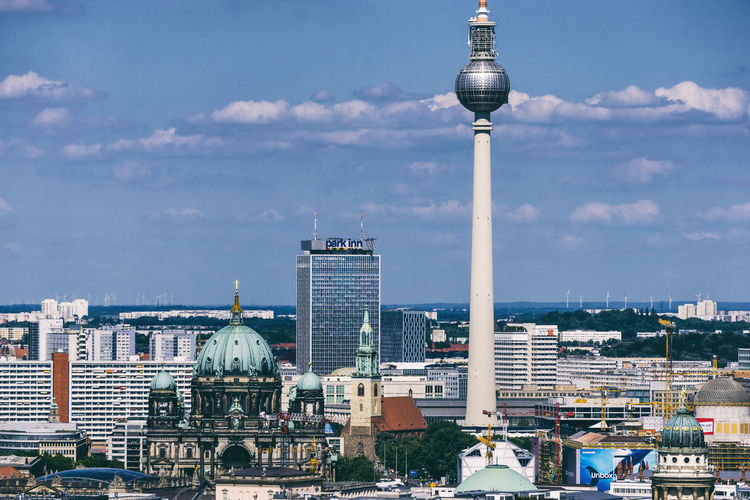 Aerial view of cityscape with TV Tower Aerial View Architecture Berlin Berlin Cathedral Building Exterior Built Structure City Cityscape Cityscape Cloud - Sky Color Image Day Dome Germany 🇩🇪 Deutschland Horizontal No People Outdoors Panorama View Potsdamer Platz Sky Skyscraper Tall - High Tower Travel Destinations TV Tower