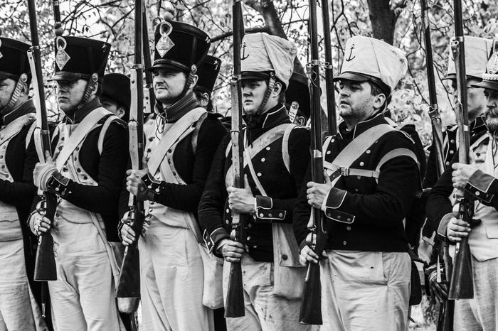 Platoon of french napoleonic soldiers - Black and white Court Fear Napoleonic Soldiers Patriotism Ready Troop Uniform Army Attack Battle Black And White Defense French Guns Historical History Men Military People Platoon War