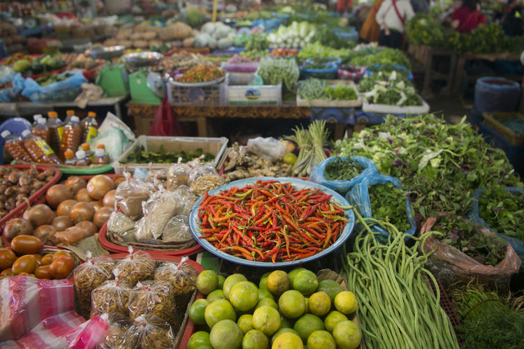 High angle view of food for sale at market