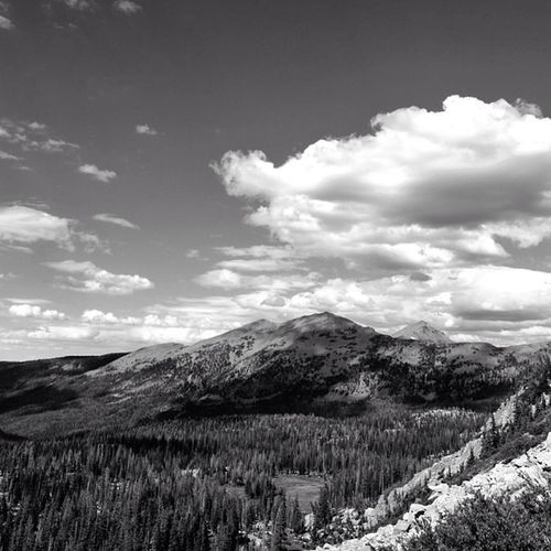 Kletting Peak as seen from lofty lake loop trail Uinta Mountain Utah Landscape Black & White