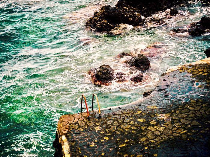 Sea High Angle View Water Wave Day Outdoors Natural Pool Tenerife Island Travel Rocks Tenerife