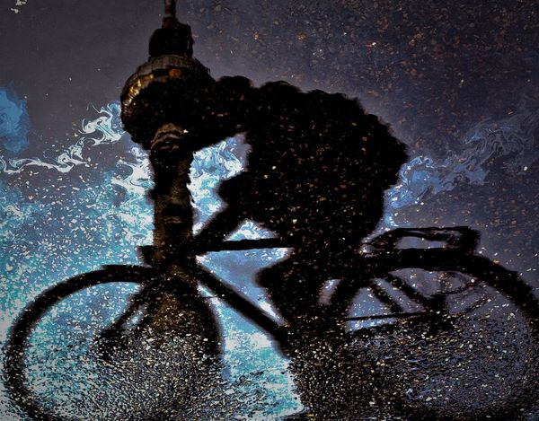 Reflection Bike Biker Bycicle Flip Oil Spill Oil Spill In A Puddle Outdoors Pollution Pollution Of The Environment Reflection_collection Streetphotography Water