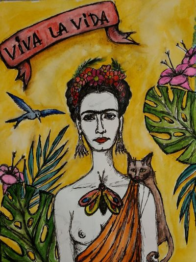 Frida Arts Culture And Entertainment Green Color Abstract Art Plant Life Mexico Frida Kahlo Legend Qween  Aquarell Modern Art Fine Art Painting Watercolor Painting Art And Craft Equipment Watercolor Paints Paintings Art Studio Painter - Artist Brush Stroke Acrylic Painting Palette Easel Graffiti Mosaic Mural Street Art Oil Painting Oil Paint
