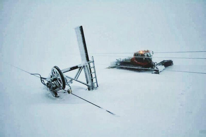 Deep Snow Glenshee Snow Covered Ski Lift Buried In Snow Piste Basher Piste Ski Scotland Cairngorms, Scotland  Grampians