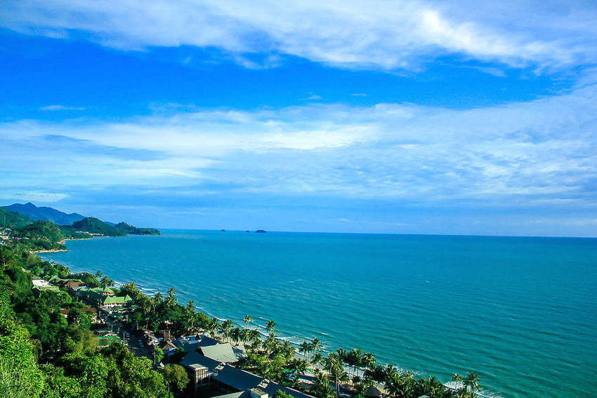 High angle view, sea and clear sky. Architecture Beauty In Nature Blue Building Exterior Cloud - Sky Day High Angle View Horizon Horizon Over Water Idyllic Landscape Sea Landscape Sea Nature Outdoors Landscape Seascape Nature No People Outdoors Scenics - Nature Sea Sky Tranquil Scene Tranquility Water