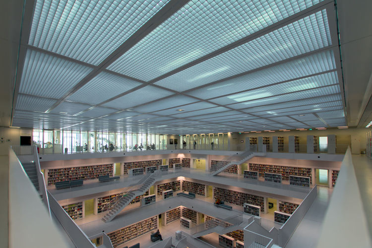 Streetwise Photography Indoors  Architecture Ceiling Built Structure Illuminated No People Building Railing Business Modern High Angle View Day Lighting Equipment Absence Education Pattern Diminishing Perspective Glass - Material Luxury Library Stuttgart