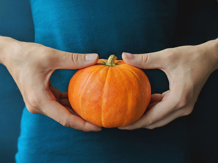 Hands holding pumpkin on blue background Halloween Hands October Orange Close-up Food Food And Drink Hand Holding Human Body Part Human Hand One Person Orange Color Pumpkin Real People Ripe