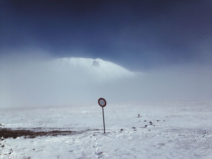 Outdoors Nowhere Nature Snow Cold Temperature Winter Sky No People Scenics Mountain Landscape Signal