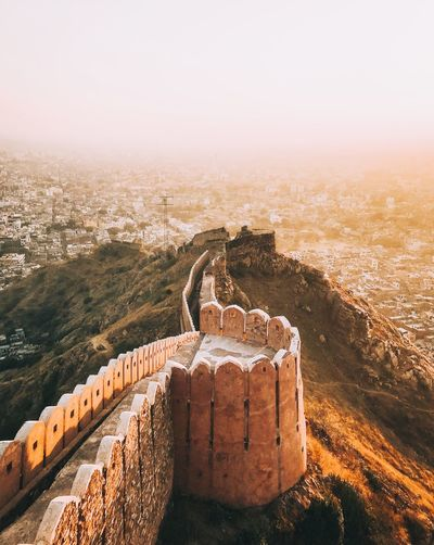 High angle view of nargarh fort in jaipur city india