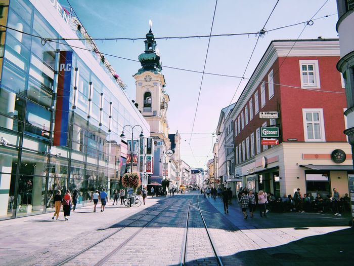 Enjoying Linz... Linz Austria Sunshine Downtown Culture And Tradition Cultural Heritage City Sky Architecture Building Exterior Tramway Office Building Cityscape Track Skyline Street Scene City Street