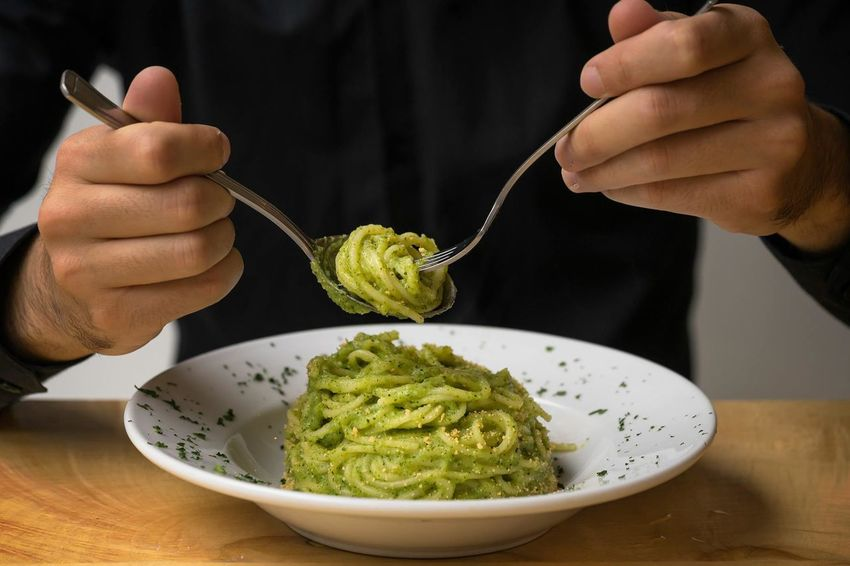 Homemade pasta with spicy broccoli pesto and breadcrumbs One Person Human Hand Italian Food Indoors  Plate Healthy Eating Freshness Day Photoblogger Taking Photos Wealth Indoors  Indoors  Close-up Studio Shot Food And Drink Tradition