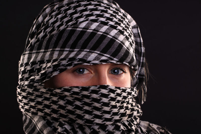Headshot Lifestyles Standing Covering Leisure Activity Front View Scarf Young Adult Looking At Camera Headscarf Textile Beauty Casual Clothing Person Hiding Red Human Eye