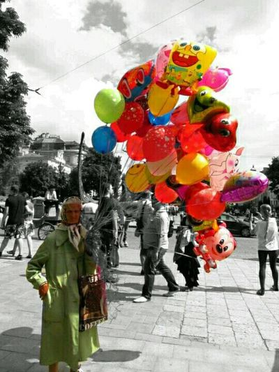 Baloons Grendma Colorful Black And White Streetphotography