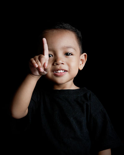 Portrait Looking At Camera Studio Shot Black Background Child Smiling One Person People Formal Portrait Real People Adult Human Body Part Son Cute